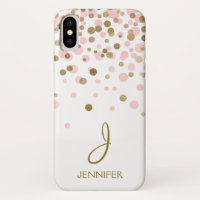 Pink and Gold Foil Girly Confetti Monogram iPhone X Case