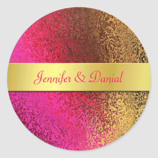 Pink and Gold Foil Like Wedding Envelope Seal Classic Round Sticker