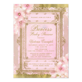 Pink and Gold Foil Princess Baby Shower Card