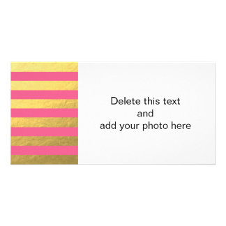 Pink and Gold Foil Stripes Printed Card