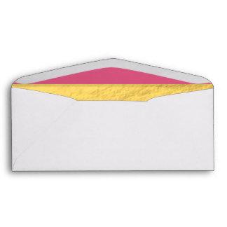 Pink and Gold Foil Stripes Printed Envelope