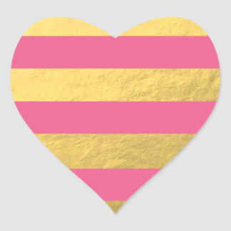 Pink and Gold Foil Stripes Printed Heart Sticker