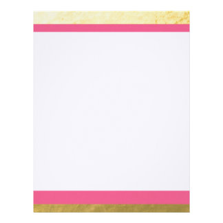 Pink and Gold Foil Stripes Printed Letterhead