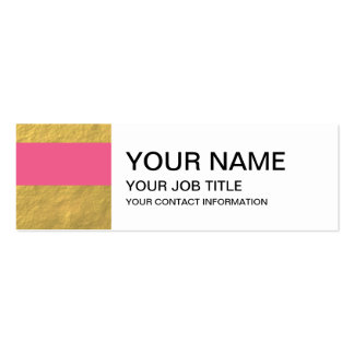 Pink and Gold Foil Stripes Printed Mini Business Card
