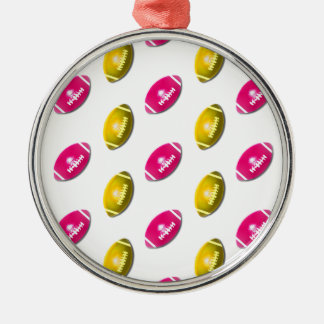 Pink and Gold Football Pattern Round Metal Christmas Ornament