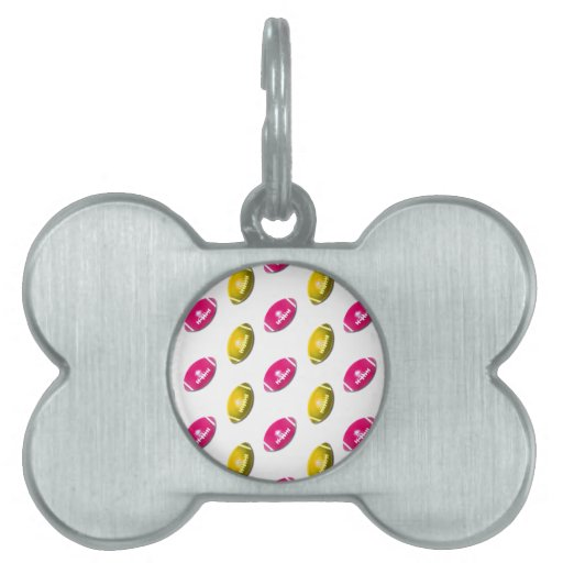 Pink and Gold Football Pattern Pet Name Tag
