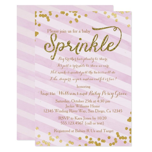 pink and gold girl baby sprinkle shower invitation | zazzle, Baby shower invitations