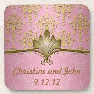 Pink and Gold Girly Damask Beverage Coaster