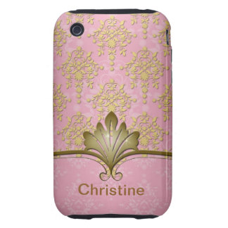 Pink and Gold Girly Damask iPhone 3 Case