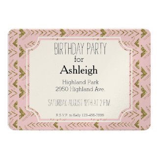 Pink and Gold Glam Arrows birthday Card