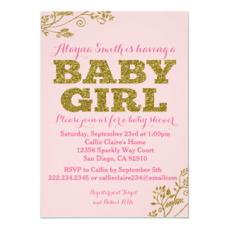 pink gold glitter baby shower cards | zazzle, Baby shower invitations