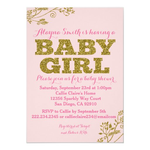 Pink and Gold Glitter Baby Girl Shower Invitation