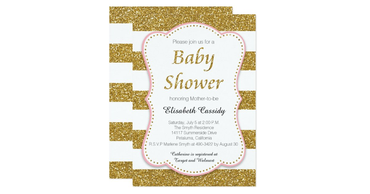 pink and gold glitter baby shower invitation zazzle