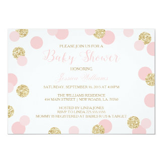 Pink and Gold Glitter Baby Shower Invitations