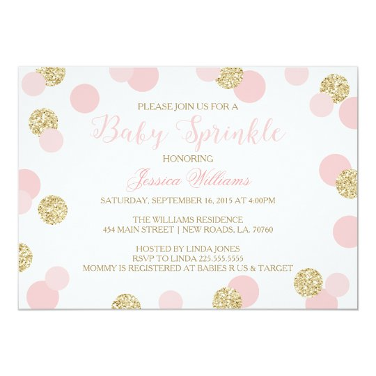 Pink and Gold Glitter Baby Sprinkle Invitations Zazzlecom