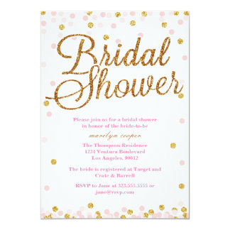 pink and gold glitter bridal shower invitations