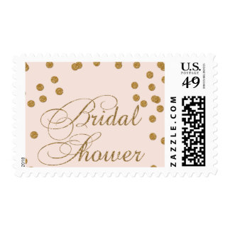 pink and gold glitter bridal shower stamps