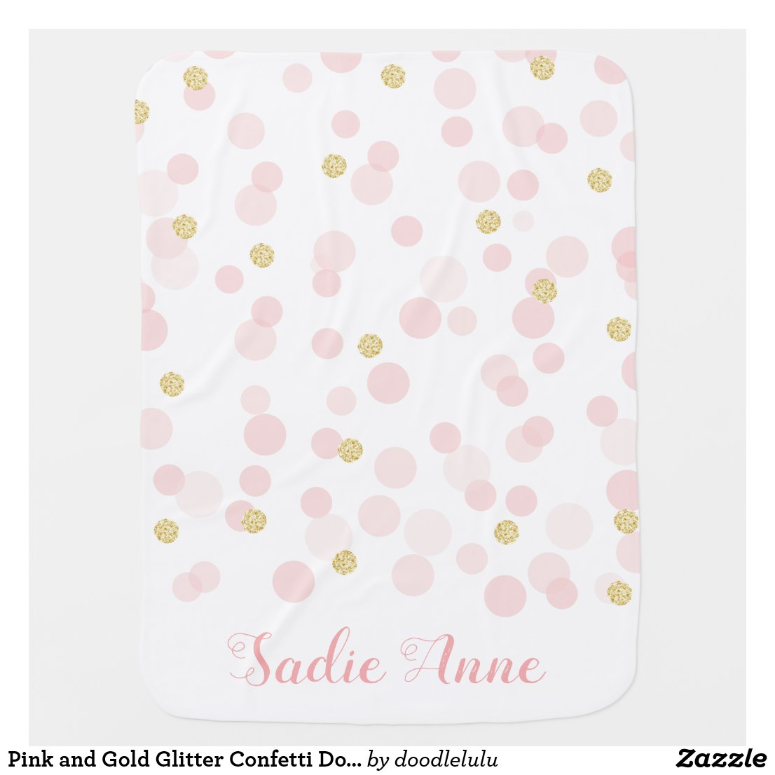 Pink and Gold Glitter Confetti Dots Baby Blanket