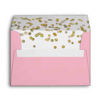 Pink and Gold Glitter Confetti Envelope