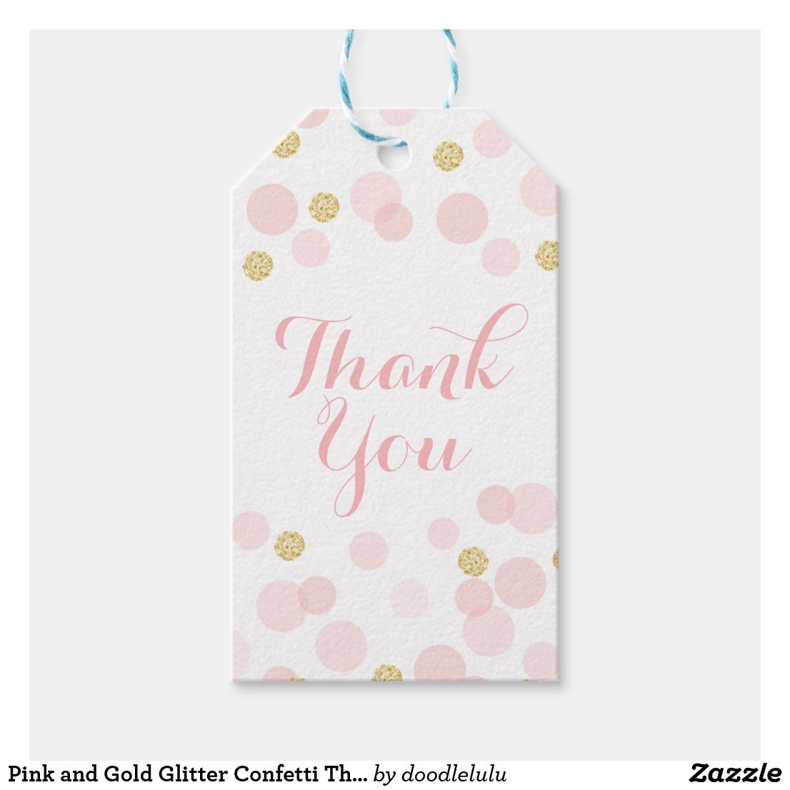 Pink and Gold Glitter Confetti Thank You Gift Tags