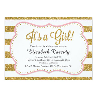 pink gold glitter baby shower invitations announcements zazzle