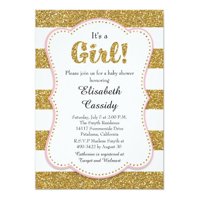 Pink and Gold Glitter Girl Baby Shower Invitation   Zazzle
