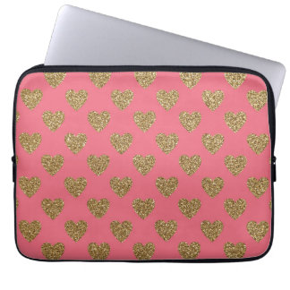 Pink and Gold Glitter Hearts Laptop Sleeve