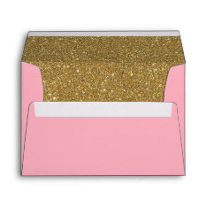 Pink And Gold Glitter Lined Envelope at Zazzle