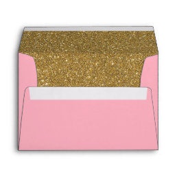 Pink and Gold Glitter Lined Envelope