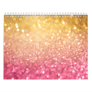 pink and gold glitter look wall calendar
