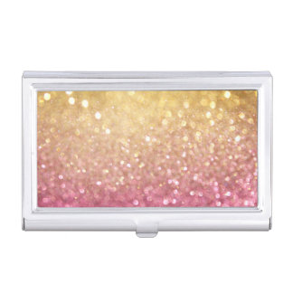 pink and gold glitter look case for business cards