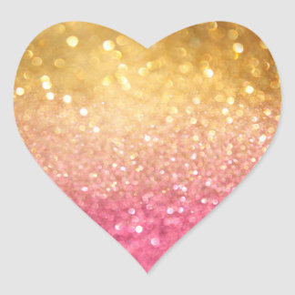 pink and gold glitter look heart sticker