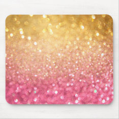 Pink And Gold Glitter Look Mouse Pad at Zazzle