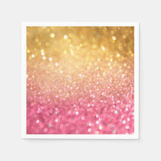 pink and gold glitter look paper napkin