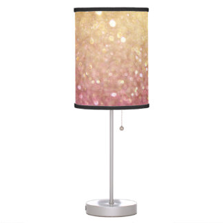 pink and gold glitter look table lamp