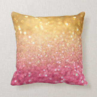 pink and gold glitter look throw pillow