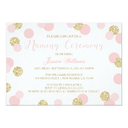 Baby naming ceremony invitations announcements zazzle pink and gold glitter naming ceremony invites stopboris Choice Image