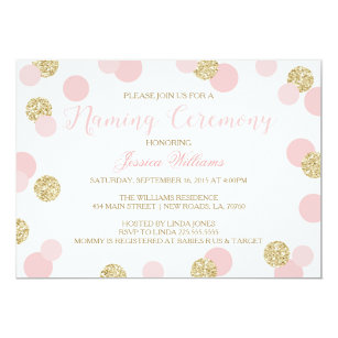Baby naming ceremony invitations zazzle pink and gold glitter naming ceremony invites stopboris Image collections