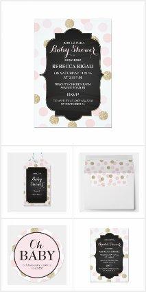 Pink and Gold Glitter Polka Dot Invitation Set