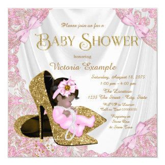 Pink and Gold Glitter Shoe Baby Shower Card