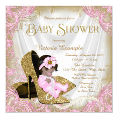 Pink and Gold Glitter Shoe Pearl Baby Shower Card at Zazzle