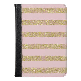 Pink and Gold Glittery Stripes at Zazzle