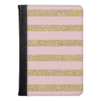 Pink and Gold Glittery Stripes Kindle Case