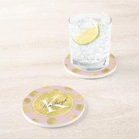 Pink and Gold Glitz Dots Monogram Drink Coaster