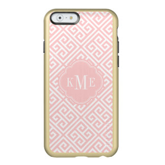 Pink and Gold Greek Key Monogram Incipio Feather Shine iPhone 6 Case