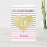 """Pink and Gold Happy 16th Birthday Granddaughter Card<br><div class=""""desc"""">Pink and Gold happy 16th Birthday Granddaughter or any age birthday girl card. You can easily personalize the age and name. The inside granddaughter birthday message can also be personalized if wanted. The back of this gold heart birthday card also features the gold heart and pink stripes with a happy...</div>"""