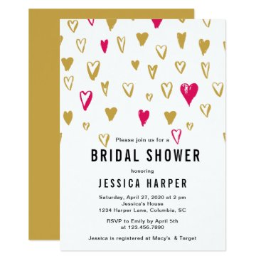 Bride Themed Pink and Gold Hearts Bridal Shower Card