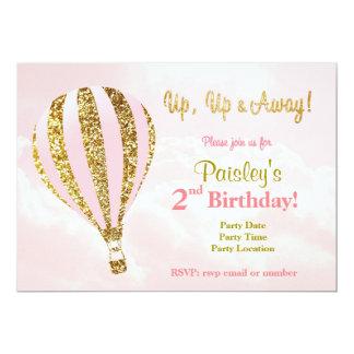 Pink and gold hot air balloon birthday invitation