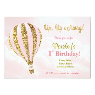 Pink and gold hot air balloon birthday invitations