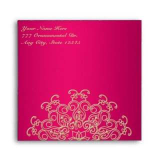 PINK AND GOLD INDIAN STYLE SQUARE ENVELOPE